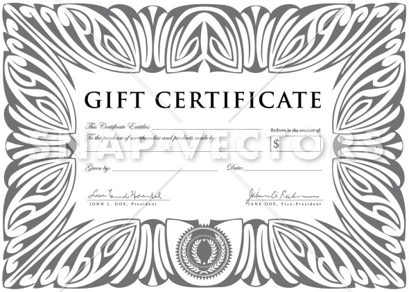 Vector Clipart Silver Gift Certificate Template - Snap ...