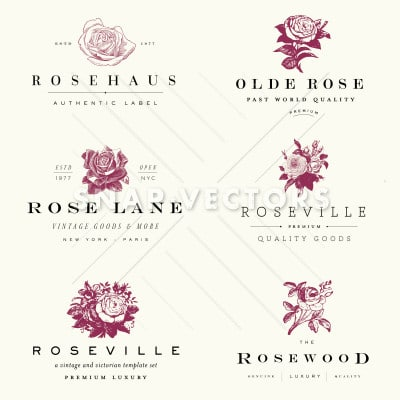 Vector Rose Logo Set Snap Vectors