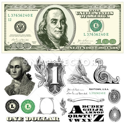 Vector Dollar 100 Bill Template Money