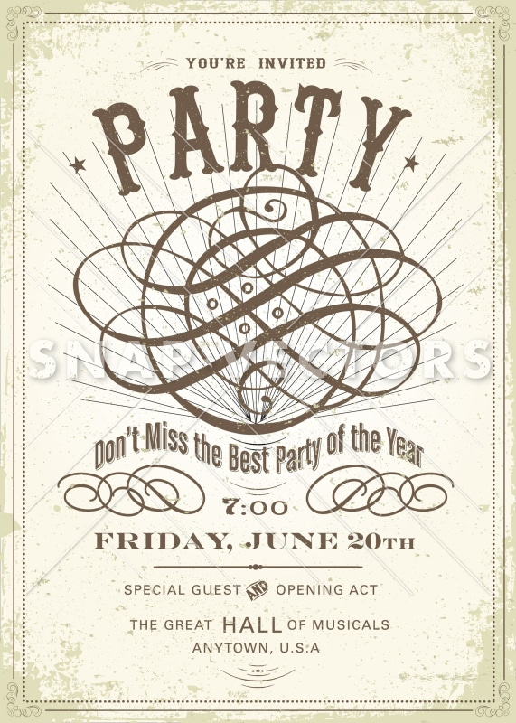 vector vintage party invitation and poster template snap vectors