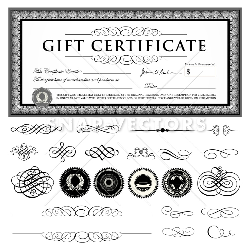 Vector Gift Certificate Template Set With Ornaments
