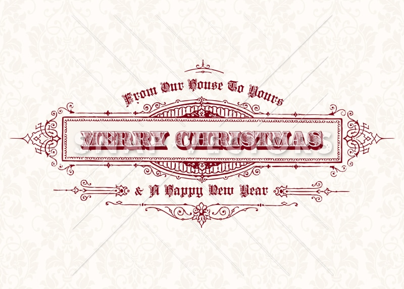 Vector Vintage Christmas Card Template