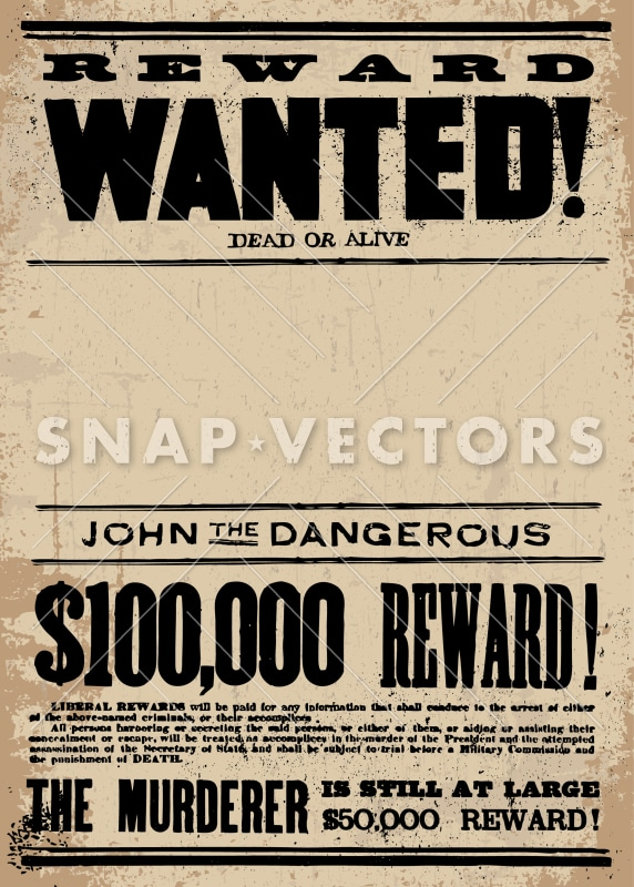 vector western wanted poster template